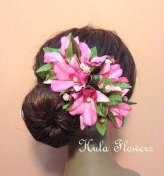 Hawaii Silk Pink Orchid Hair Clip For Hawaiian Hula by HulaFlowers, $21.95