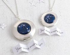 Zodiac Locket, Zodiac Jewelry, Personalized Locket, Zodiac Necklace, Secret Message Locket, Custom Locket, Blue Locket Necklace