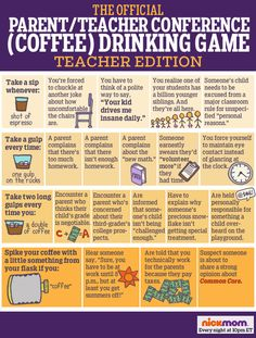 The Official Parent/Teacher Conference (Coffee) Drinking Game: TEACHER'S EDITION funny list | meme | kids