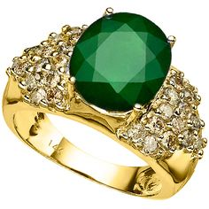 14kt yellow gold. Emerald with LB Diamonds.