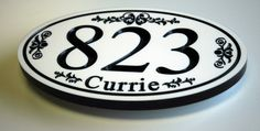 Custom Engraved Corian House Number Sign Oval Style  Note: These Plaques are Deeply Engraved with a V-Carve bit and will last a lifetime. (NOT just