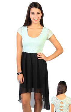 Deb Shops two tone #lace bow back designed high low dress