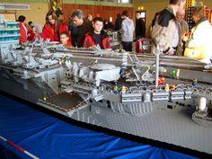 LEGO Aircraft Carrier Lego Aircraft Carrier, Lego Construction, Lego Military, Lego Worlds, Lego Models, Navy Ships, Lego Building, Battleship