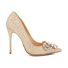 Schutz Embellished Heel Shoes ($240) ❤ liked on Polyvore featuring shoes, heels, leather sole shoes, embellished shoes, glitter shoes, schutz footwear and decorating shoes