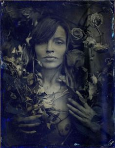 "Tara on Blue Glass, 1 of 1, 5x6"" Blue Ambrotype, 2009."
