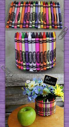DIY Crayon vase with crayons for teacher