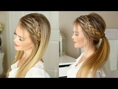 One of my favorite hair tutorials is the Double Braided Ponytail. It looks like … One of my favorite hair tutorials is the Double Braided Ponytail. It looks like such an intricate braid but is actually two braids in one. It got me thinking… Sporty Hairstyles, Box Braids Hairstyles, Trending Hairstyles, School Hairstyles, Men's Hairstyle, Formal Hairstyles, Girl Hairstyles, Braid Headband Tutorial, Headband Braids