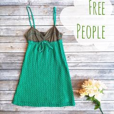 Free People Brown & Green Quilted Sundress ✨ ★ In excellent condition, with minor, unnoticeable pulls.  ★ A lovely color and unique design, this Free People sundress is perfect for spring, summer, and festival season! Get it now!  ★ NO TRADES!  ★ YES OFFERS! ✅ ★ Measurements available by request.  Free People Dresses