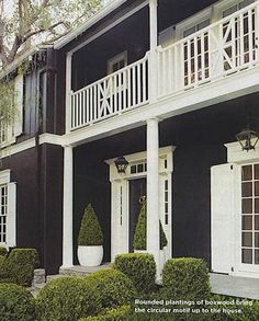 Exterior - black house, white trim