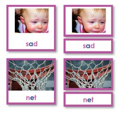 Pink Series Reading Phonetic Words with Photos, 3 part cards Different Words, Language Arts, Montessori, Card Stock, Lettering, Engagement, Reading, Frame, Prints