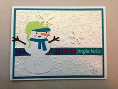 Designer Crafts by Anndria - cricut (winter frolic) snowman, snowflake card