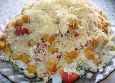 Салат с курицей, сыром и сухариками | Про рецептики - лучшие кулинарные рецепты для Вас!