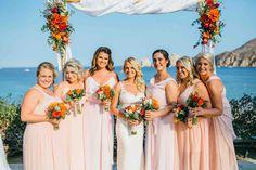 Love the look with this beautiful peach hue! Add orange to add a pop of color with a pastel bridesmaid dress! #CaboFlowersandCakes #TheCaboFloralExpert Wedding Planner: Tammy Wolff, Cabo Wedding Services #CasaDorada #Cabowedding