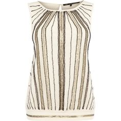 This all over embellished top has sequin detailing to the front and a plain back. Sleeveless in style, this piece has a round neckline and is made from a stret…