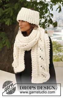 "Knitted DROPS scarf with lace pattern and head band in garter st in ""Polaris"". ~ DROPS Design"