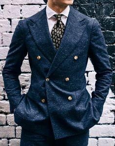 Men's marbled navy blue double creates suit with gold buttons. #mensfashion #bespoke #wedding #groom #groomsmen #theclassypeople #menstyle #menswear #dapper #gentlemen #gentleman #suits #business #mensguides #style #mensfashion_guide #giorgentiweddings