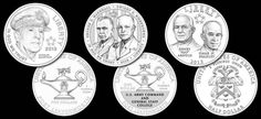 """Designs for the 2013 5-Star Generals Commemorative Coins - The 2013 5-Star Generals Commemorative coins honor five-star generals. The five generals who will be portrayed on the coins are Douglas MacArthur on the gold coin, George C. Marshall and Dwight D. Eisenhower on the silver coin, and Henry """"Hap"""" Arnold and Omar N. Bradley on the clad coin."""