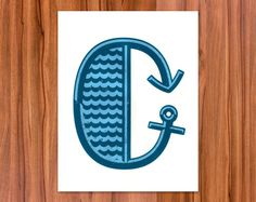 Letter C Screen Printed Illustration by Eighteen32 on Etsy