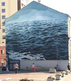 L'immeuble prend l'eau ! / Street art. / Kiev. / Ukraine. / By Jake Aikman.