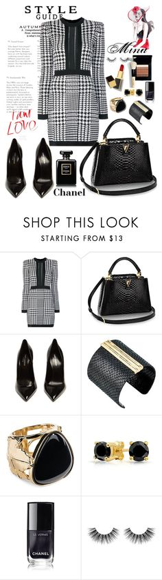 """Black & white"" by mina-al-wiswassi ❤ liked on Polyvore featuring Balmain, Yves Saint Laurent, The Sak, Aurélie Bidermann, Bling Jewelry, Bobbi Brown Cosmetics, Barneys New York, Velour Lashes and Tom Ford"