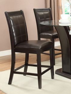 Set of 2 espresso finish wood and dark brown key hole back faux leather counter height bar chairs