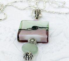 Pink and Green Glass Bead Pendant  with .925 Silver Plated Necklace by uBuNEEKBoutique on Etsy