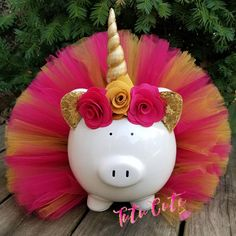 Pink and Gold Unicorn Tutu Piggy Bank, Unicorn Room Decor, Girls Piggy Bank, Unicorn Gift, Unicorn Party Decor Unicorn Room Decor, Unicorn Rooms, Party Unicorn, Unicorn Gifts, Personalized Piggy Bank, Green Tutu, Fiesta Decorations, Unicorn Headband, Craft Fairs