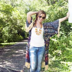 Turn a regular lightweight scarf into a chic kimono with a few easy tips.