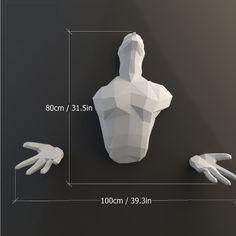 PDF à transformer en sculpture murale - Le papercraft 3D 3d Human, Human Art, 3d Paper Crafts, Cardboard Crafts, Transformers, Origami 3d, Low Poly 3d, A4 Paper, More Than Words
