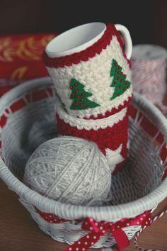 2013 handmade Christmas tree mug crochet cozy.  warm your cup and warm your life.