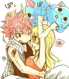 Natsu x Lucy, Fairy Tail - I really love this pic because of the fact that Lucy is angry/annoyed by Natsu and is hitting him with a Happy pillow, and he's just trying to calm her down, like I good boyfriend. xD It's precious. :3