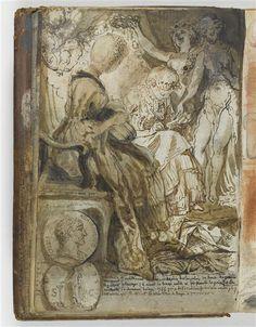 Gabriel Jacques de Saint-Aubin   Jeunes filles couronnées par des muses, médaille à l'effigie d'Adrien