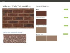 Jefferson Wade Tudor 6042. Red. Brick. General Shale. Behr. Benjamin Moore. Ralph Lauren Paint. Valspar Paint.  Click the gray Visit button to see the matching paint names.