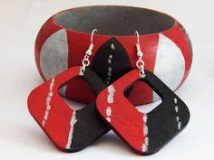 Tribal Wood Bangles Red Black Silver Bracelets Wood Jewelry Set Earrings Bracelets Hand Painted Unique Funky wooden earrings by TheBlackerTheBerry