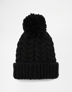 ASOS Cable Bobble Beanie in Black