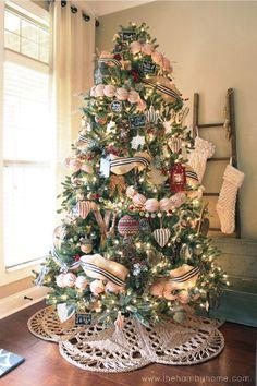 DIY Ticking Stripe Ball Garland Blue Christmas Decor, Country Christmas Decorations, Noel Christmas, Merry Little Christmas, Rustic Christmas, Christmas Crafts, Diy Christmas Tree Garland, Nautical Christmas, Xmas