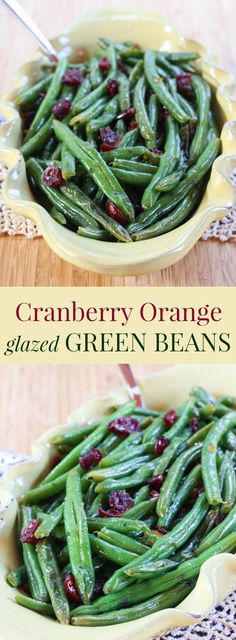 Cranberry Orange Glazed Green Beans - a healthy vegetable side dish for Thanksgiving or Christmas Vegetables Cranberry Recipes, Holiday Recipes, Healthy Christmas Recipes, Dinner Recipes, Holiday Foods, Fall Recipes, Veggie Dishes, Food Dishes, Fruit Dishes