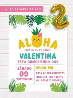 Tropical themed aloha invitation for birthday, pineapple summer invitation card Party Props, Party Themes, Etsy Handmade, Handmade Gifts, 30th Party, Diy Party Decorations, Holidays And Events, Party Printables, Invitation Cards