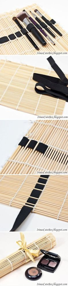 16 DIY Makeup Organization Ideas – A Little Craft In Your Day <<< Love this makeup brush organizer/case made from a bamboo placemat threaded with ribbon. You know, if you threaded ribbons at a few heights, and threaded necklaces/chains from top to bottom, maybe poke the earrings through the ribbon in some spots, you could keep jewelry from getting so badly tangled while traveling.