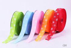 $24.8 25mm Mixed Color Snowflake Printed Grosgrain Ribbon Cord Crafts Hair Bow