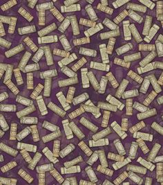 Susan Winget | Cotton Fabric | Wine Tossed Corks | Wine Cork Fabric