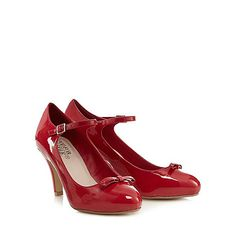 Good for the Sole Red patent bow applique wide fit high court shoes- | Debenhams