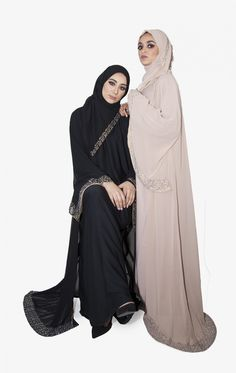 A gorgeous piece that breathes graceful, available in colours pink and black. Rimmed with sequins and paired with matching scarves, this abaya is light and weightless, perfect for a summer time special occasion. Abayas, Swan, Summer Time, Evening Gowns, Chiffon, Sequins, Black, Dresses, Fashion