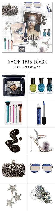 """""""Shine On: Metallic Makeup"""" by kays-fashion-escape ❤ liked on Polyvore featuring beauty, Christian Dior, Deborah Lippmann, Alexander McQueen, makeup, metallic, polyvorecommunity and metallicmakeup"""