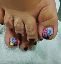 Summer Toe Nails, Toe Nail Designs, Toe Nail Art, Pedicure, Finger, Hair Beauty, Nail Art, Designed Nails, Templates