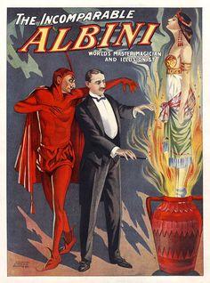 La Incomparable Albini, por mostrar American imprime (1911)  FORMATOS DISPONIBLES:  * Tamaño: 9 x 12 (imagen: 7.5 x 10,13) * Tamaño: 12 x 16 (imagen: 10 x 13.5) * Tamaño: 16 x 20 (imagen: 13,31 x 18)  Archivo Inkjet sobre papel de arte fino Acabado mate - bordes blancos - superficie texturizada  NOTAS  Un cartel promocional de Herbert Albini (nacido Abraham Laski), un mago nacido en Polonia que adoptó una actitud arrogante, insultar duramente a su audiencia. Es conocido para la apertura de…