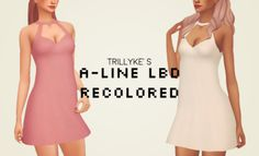 Lana CC Finds - trillyke's a-line little black dress recolored by pxelpink Sims 4 Cc Packs, Sims 4 Mm Cc, Sims Four, Maxis, Sims4 Clothes, Play Sims, Sims 4 Characters, Sims 4 Cas, Sims 4 Cc Finds