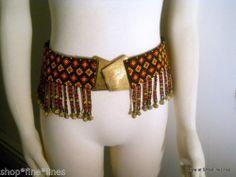 1980s DKNY Beaded Wide Belt Black Yellow Red Bead & Bells Fringe 30 Inch Waist