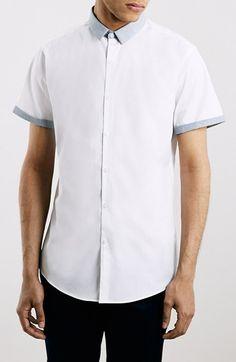 Men's Topman Slim Fit Short Sleeve Grey Contrast Shirt