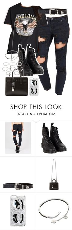 """""""Outfit with black ripped jeans"""" by ferned ❤ liked on Polyvore featuring Dr. Martens, B-Low the Belt, Yves Saint Laurent, Chiara Ferragni, Cartier and Forever 21"""